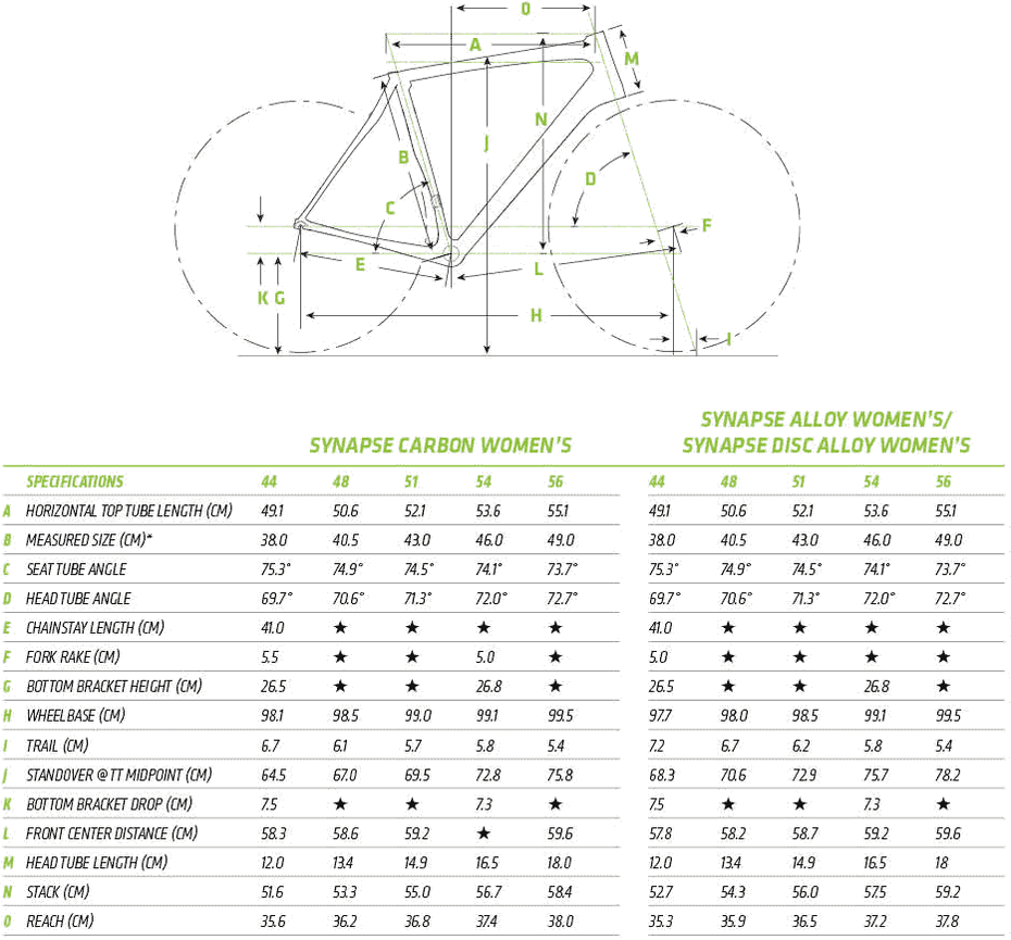 Cannondale Synapse Carbon Women's Ultegra геометрия