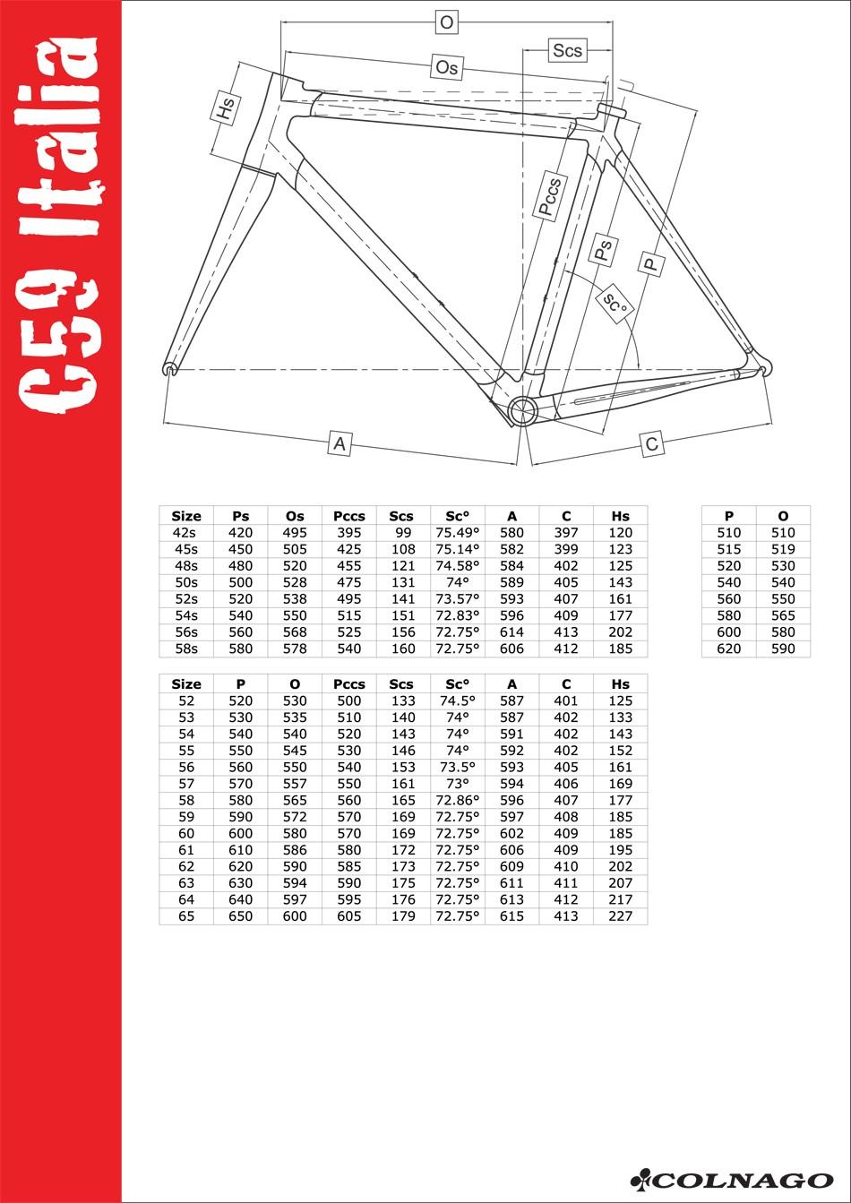 Colnago c59 геометрия