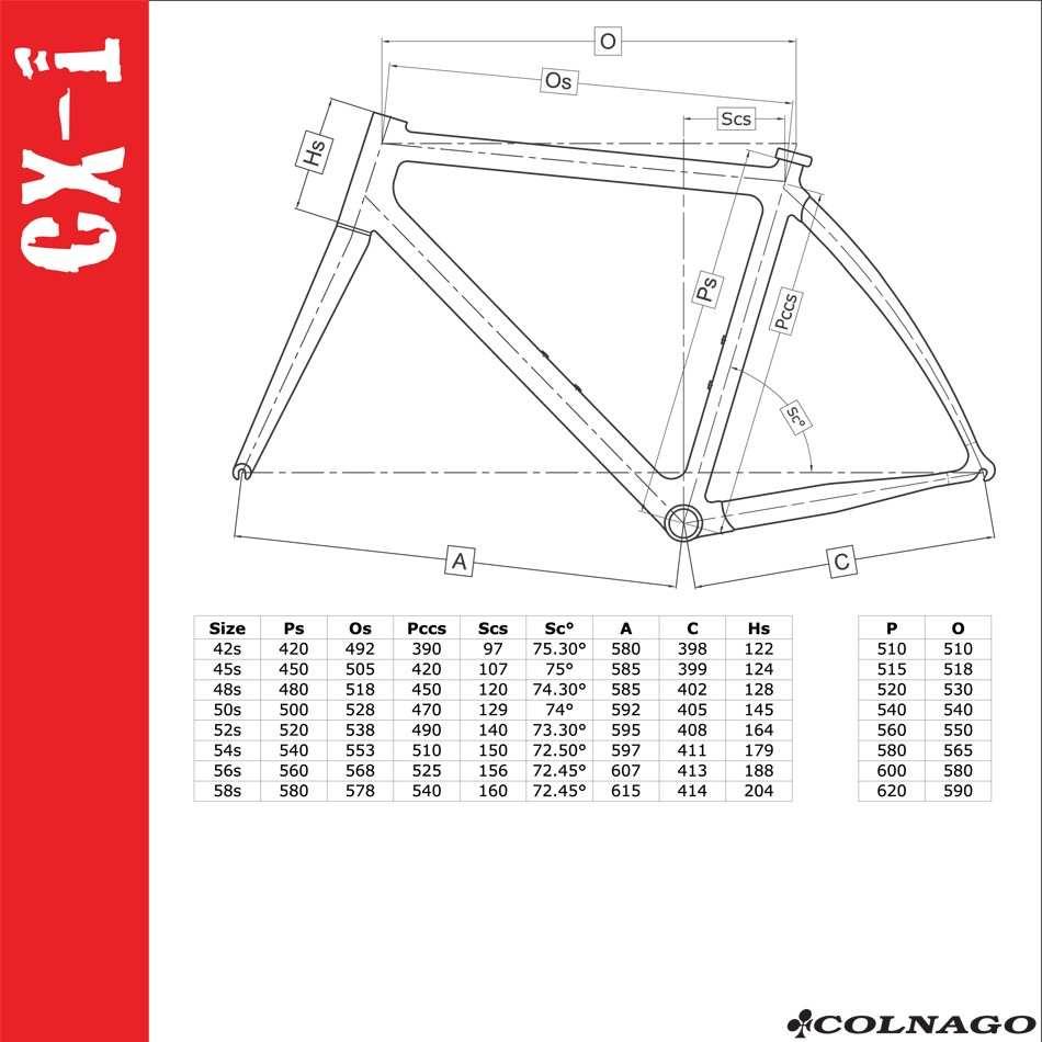 Colnago CX-1 геометрия