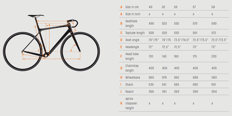 KTM Revelator 3500 Carbon 2016 геометрия