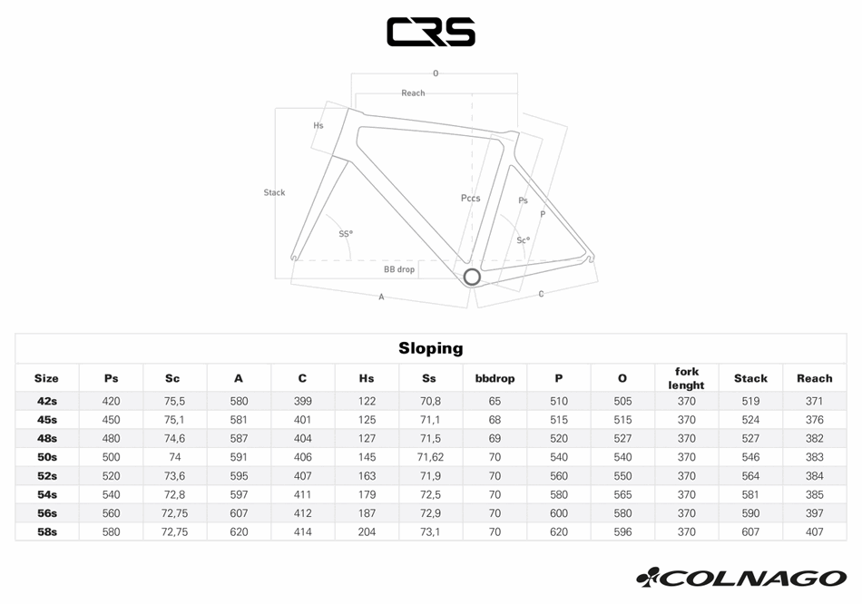 Colnago CRS геометрия